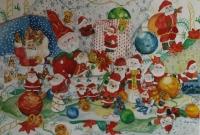 Santas. Design for Christmas Cards