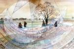 """Dial Spring [Nine Stones Close/Grey Ladies]"" watercolour 50x70cms"