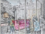 """""""Window Shopping"""" watercolour and graphite 40x50cms"""