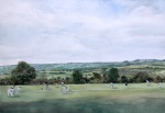 """""""Game On"""" [Stanton in Peak Cricket Ground] watercolour approx 30x40cm"""